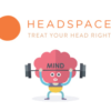 """Cartoon character with """"mind"""" on its head with Headspace logo and the phrase, """"Treat Your Head Right"""""""