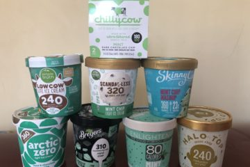 A variety of lite ice cream brands including Simple Truth, Scandal-less, Skinny Cow, Halo Top, Enlightened, Breyers Delight, Arctic Zero and Chilly Cow.