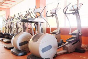 several ellipticals at a gym