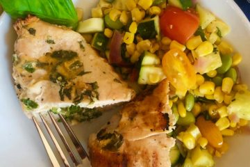 One-Point Grilled Cheddar Chicken with Corn Edamame Succotash