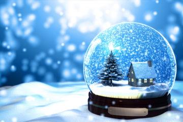 Christmas Snow globe Snowflake close-up