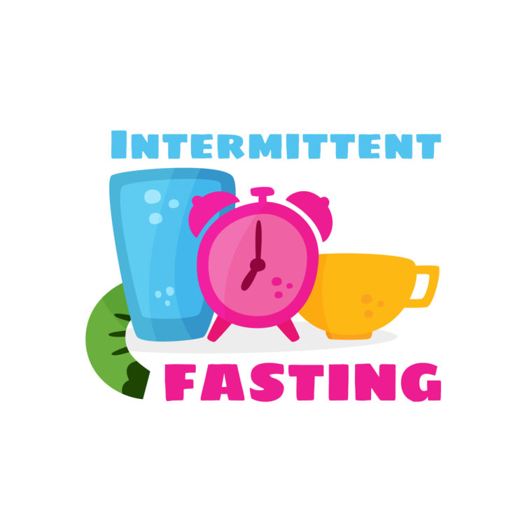 Intermittent fasting. The concept of losing weight. Slimming and its benefits. Vector cartoon.