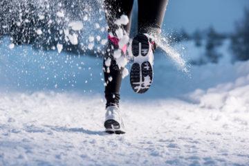 running snow woman